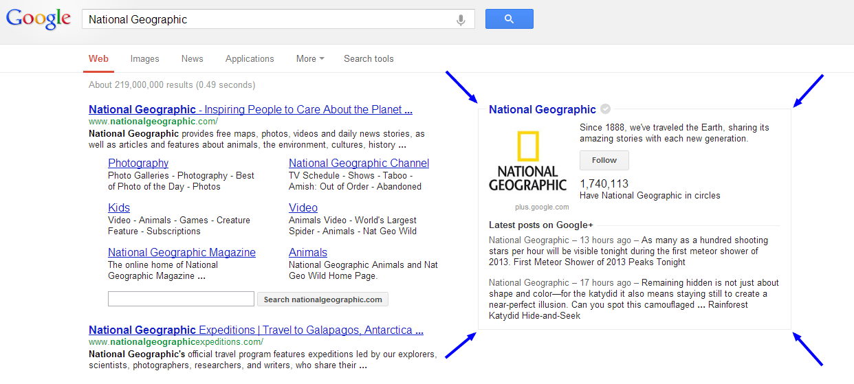 linked google plus page national geographic