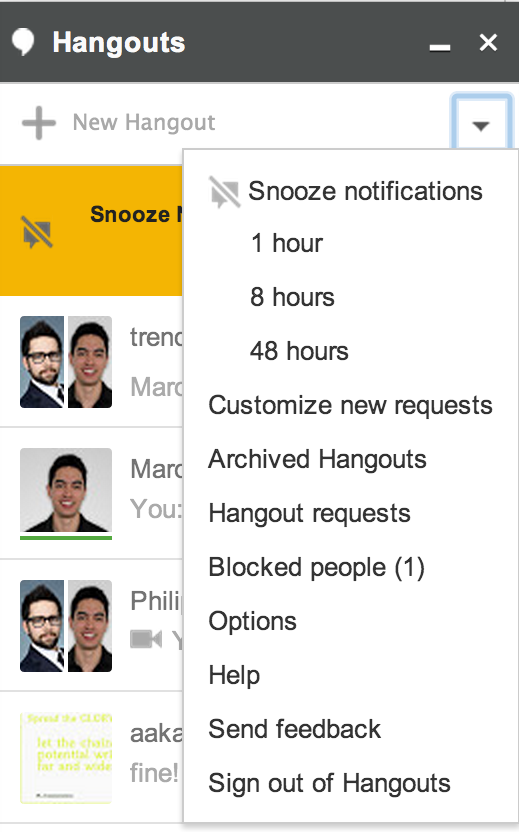 snooze hangouts notifications