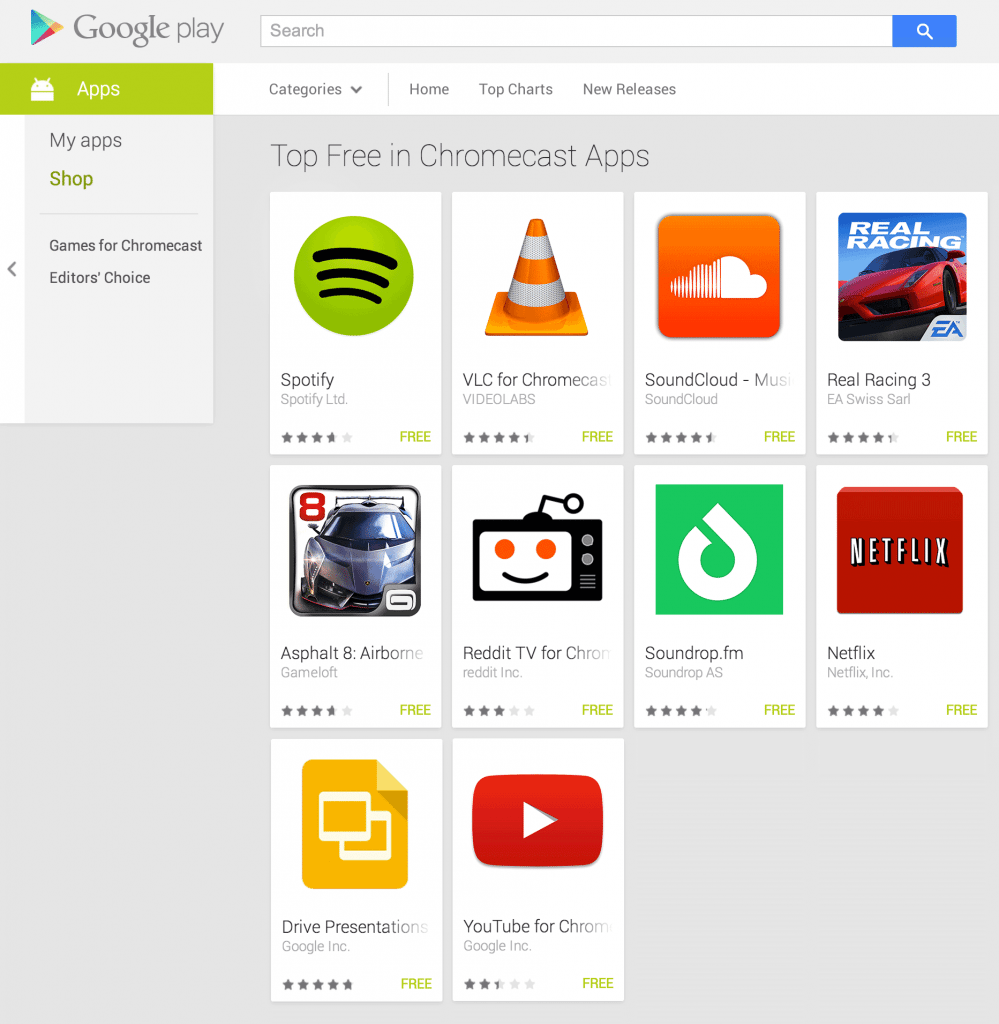 play store chromecast apps
