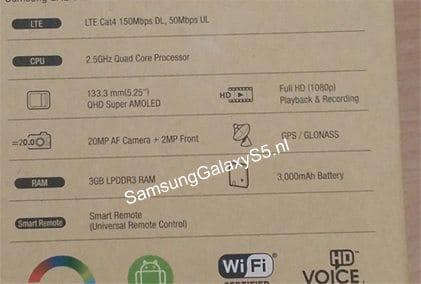 Samsung Galaxy S5 box leak