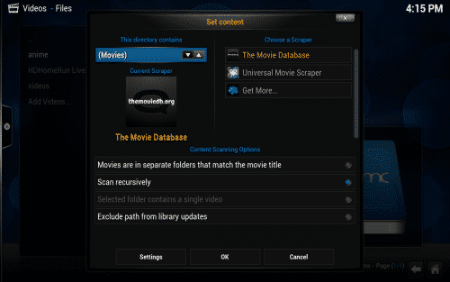 Set media content in Kodi
