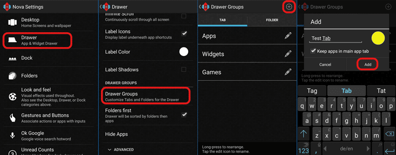 how to add a folder in nova launcher
