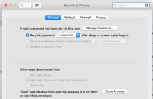 Mac OSX Security Settings