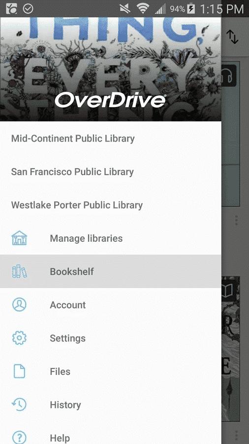 overdrive audiobook app menu