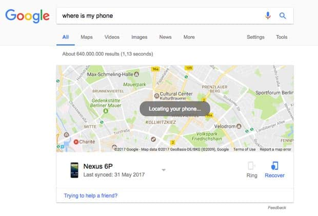 google find my android search result for lost phone
