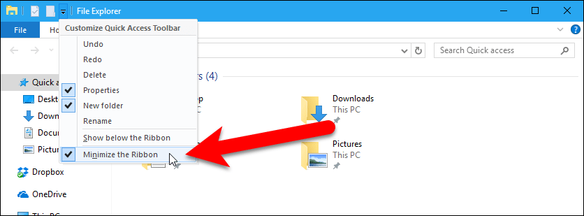 Customize the Quick Access Toolbar in Windows 10's File Explorer
