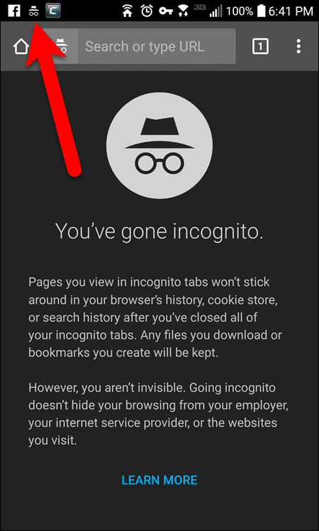 Incognito icon on the status bar of an Android phone.