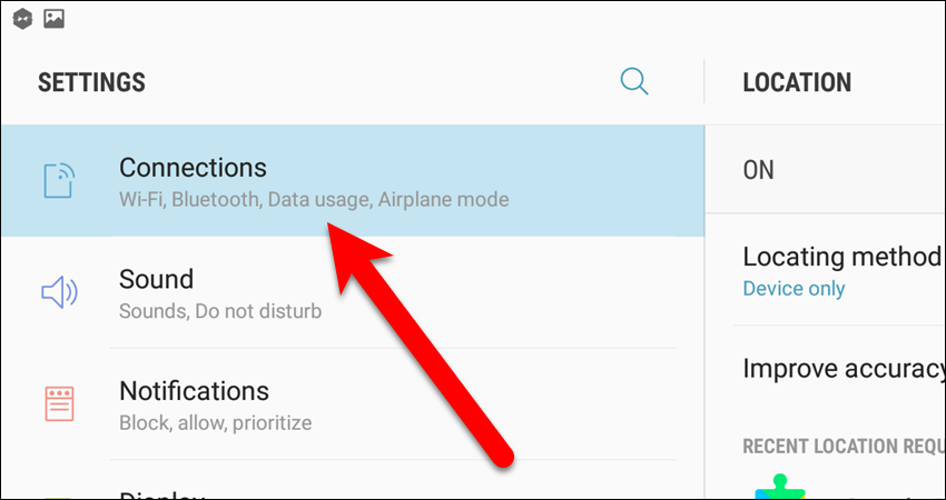 Tap Connections in the Settings app.