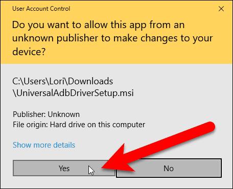 User Account Control dialog box.