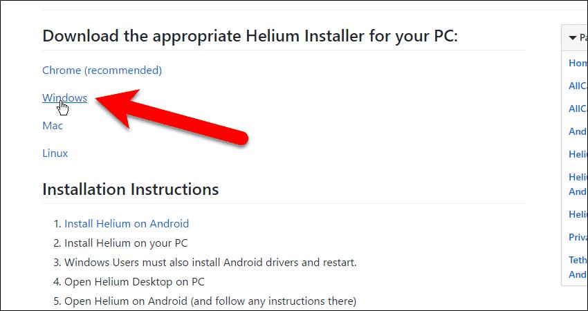 Click Windows download link for the Helium desktop app.