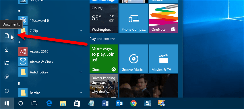 09 additional icons on left panel start menu