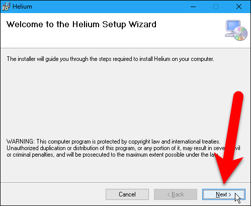 Welcome screen on Helium installation dialog box.