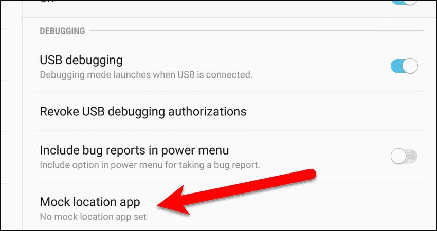 Tap Mock location app in the Developer options.
