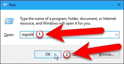 Open the Registry Editor using the Run dialog box.