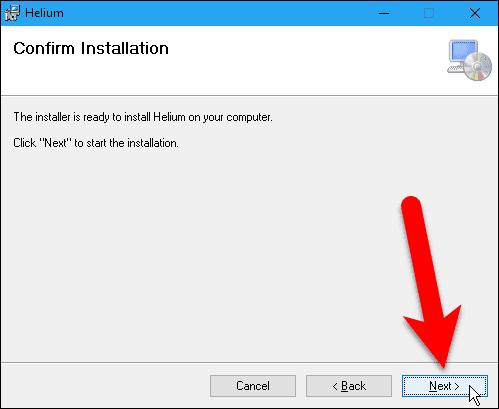 Confirm installation for the Helium desktop app.
