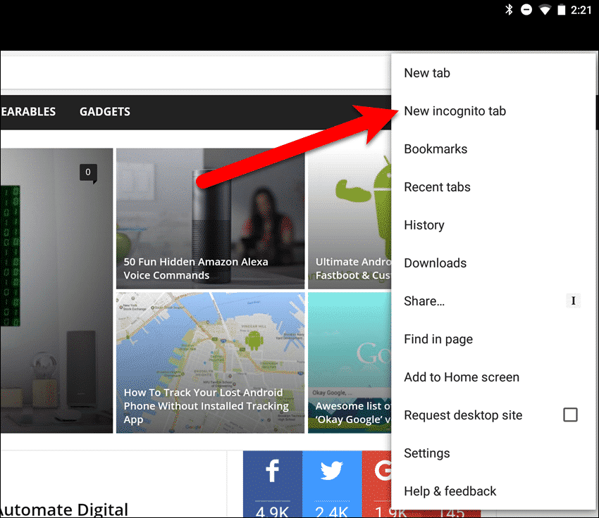 "Tap ""New incognito tab"" on pop-up menu in Chrome on an Android tablet."