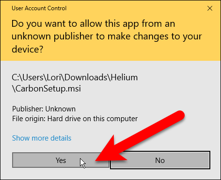 User Account Control dialog box for Helium desktop app installation.