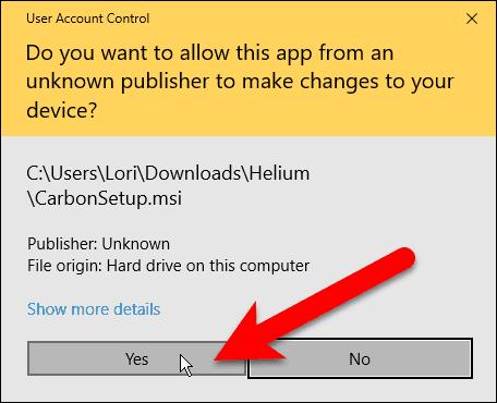 User Account Control dialog box for Helium desktop app installation.