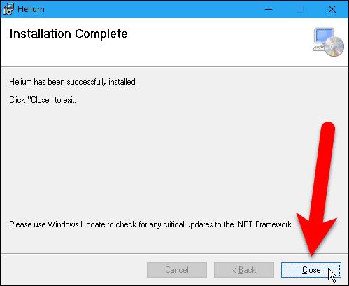 Helium desktop app installation complete.