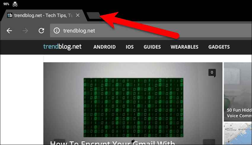 Open another Incognito tab in Chrome on an Android tablet.