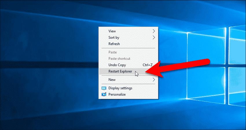Use the Restart Explorer option on the Desktop context menu.