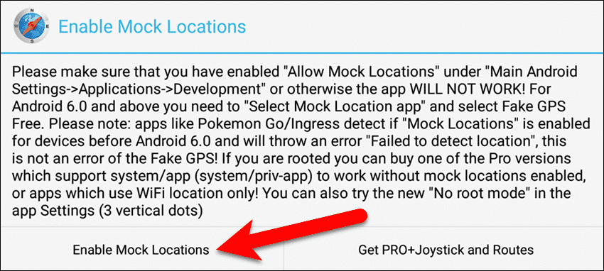 Tap Enable Mock Locations.