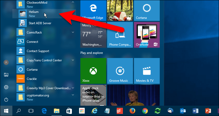 Start Helium from Windows Start menu.