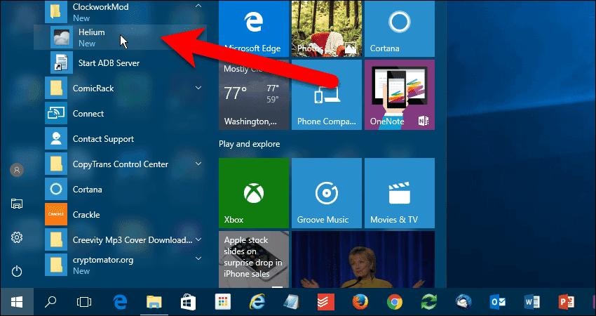 Start Helium from Windows Start menu.
