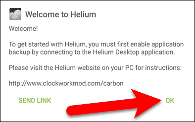 Welcome dialog box in Helium app - connect your device.