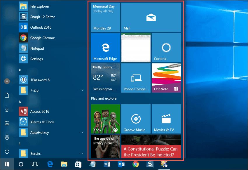 how to customize windows 10 start menu