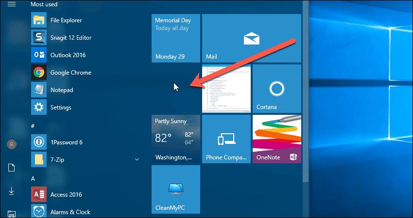 how to create blank panel on windows start menu
