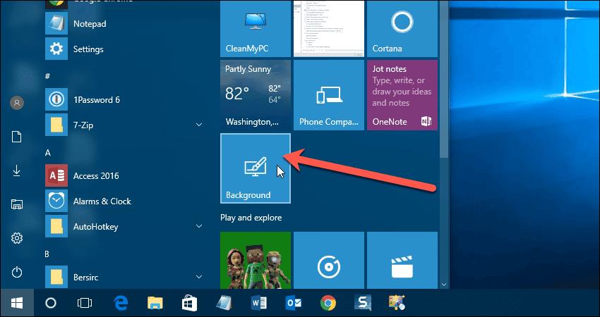 how to change background of start menu windows 10