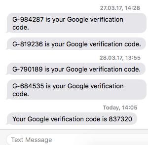 sms codes