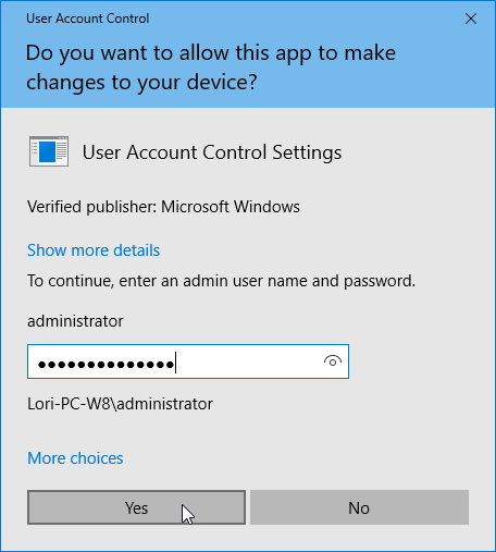 User Account Control dialog box with password.