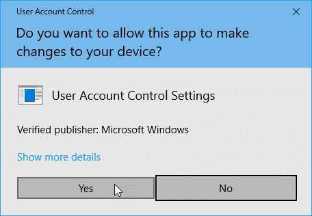 User Account Control dialog box without password.
