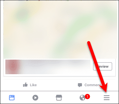 Tap the menu button in the Facebook app in iOS.