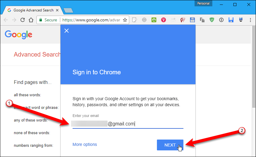 Enter email address in Chrome