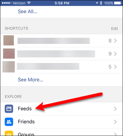 Tap Feeds in Facebook for iOS Settings.