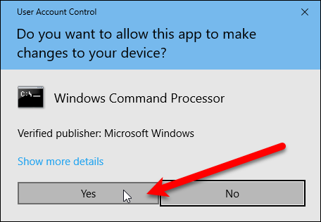 User Account Control dialog box for Command Prompt window.