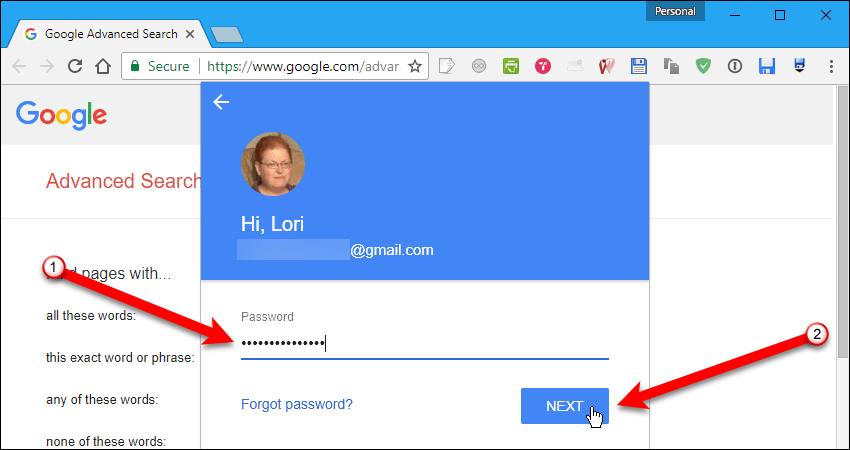 Enter password for email address in Chrome