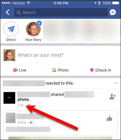 Most recent posts showing in Facebook for iOS.