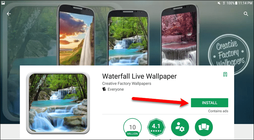 Tap Install on the life wallpaper page
