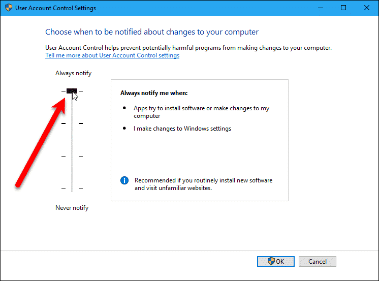 Change User Account Control Or Disable It In Windows