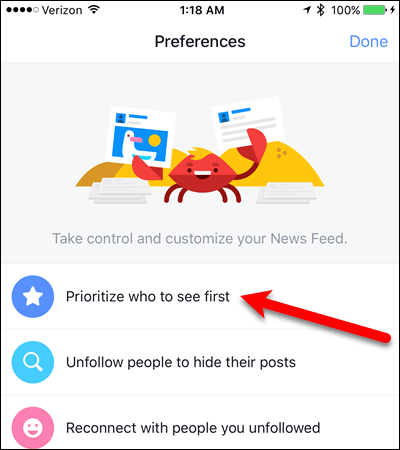 Tap Prioritize who to see first in Facebook for Android.