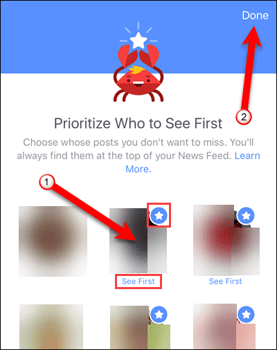 Tap friends to see first in Facebook for iOS.
