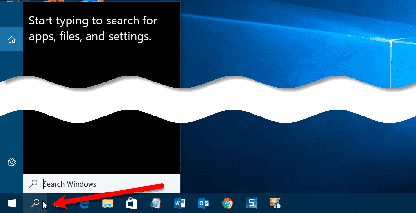 Search button on Taskbar
