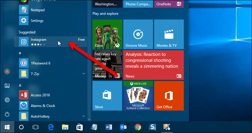 Suggested apps in Apps list on Start menu