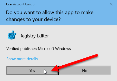 User Account Control dialog box for Registry Editor