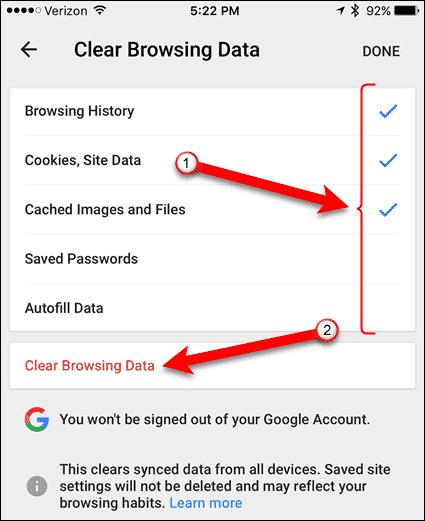 12 tap clear browsing data again ios