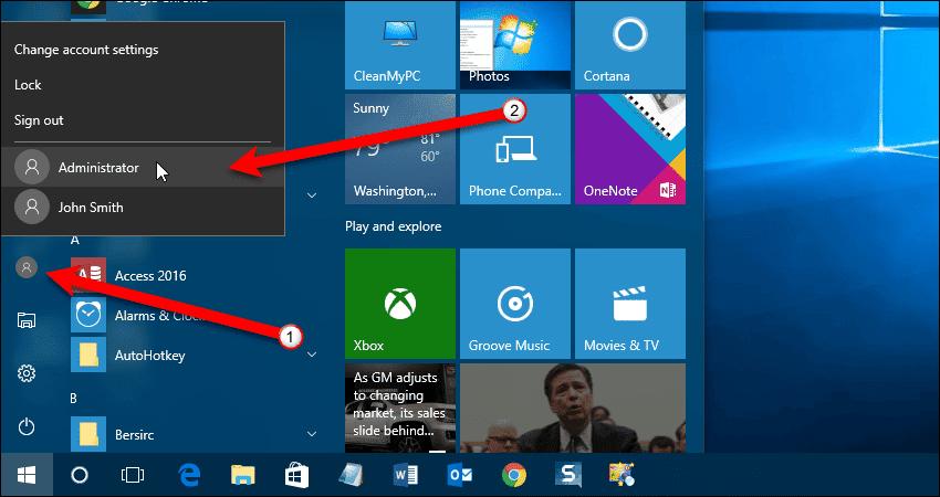 Select Administrator on user menu.